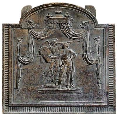 A French carved oak fireback m