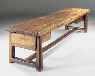 A LARGE OAK FARMHOUSE TABLE, F