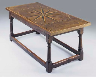 AN OAK AND INLAID REFECTORY TA