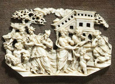 A German relief carved ivory p