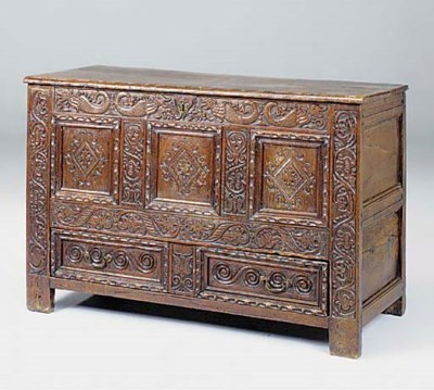 A CARVED OAK CHEST, YORKSHIRE,
