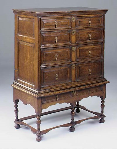 AN OAK CHEST ON STAND, ENGLISH