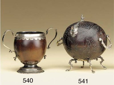 An English silver mounted coco