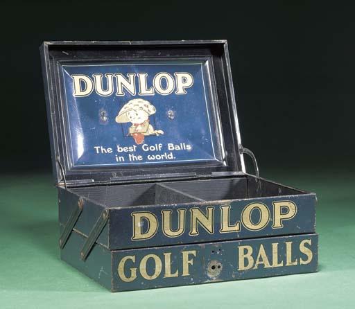 A DUNLOP TWO-SECTION TIN GOLF BALL BOX