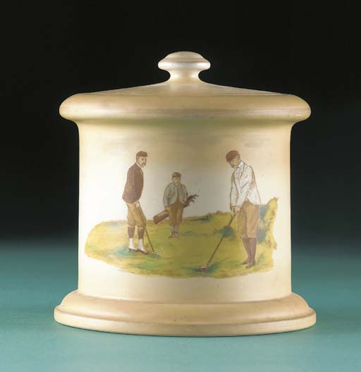 A CARLTON WARE TOBACCO JAR AND