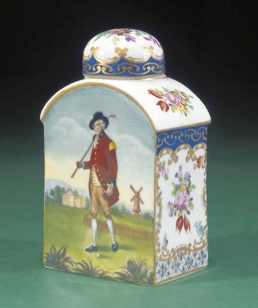 A DRESDEN TEA CADDY AND COVER