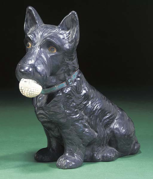 A CERAMIC SCOTTIE DOG ADVERTIS