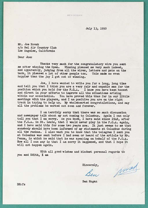 A TYPED LETTER FROM BEN HOGAN