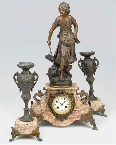 A French spelter and pink vare