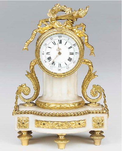 A Swiss white marble and gilt-