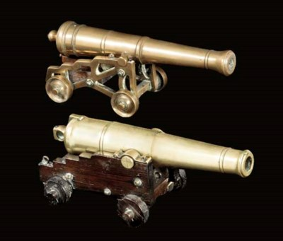 TWO BRONZE MODEL CANNONS
