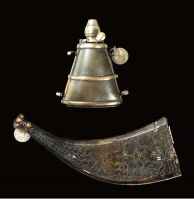 AN ENGLISH BRASS-MOUNTED HORN