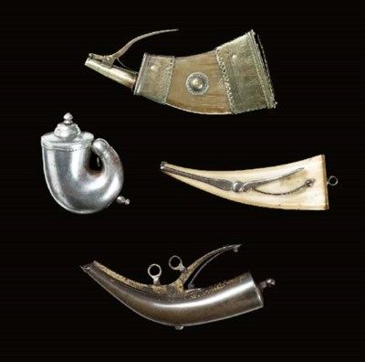 A BRASS-MOUNTED COW-HORN POWDE