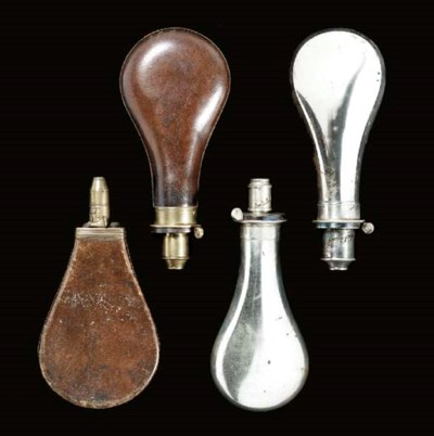 TWO LEATHER POWDER-FLASKS, AND