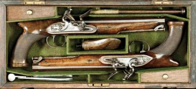 A CASED PAIR OF 24-BORE SAW-HA