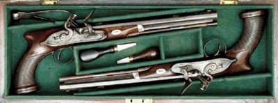 A CASED PAIR OF 40-BORE SAW-HA