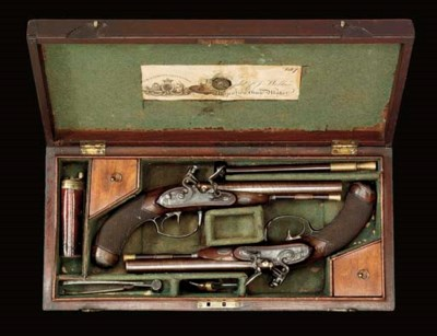 A CASED PAIR OF 36-BORE D.B. F