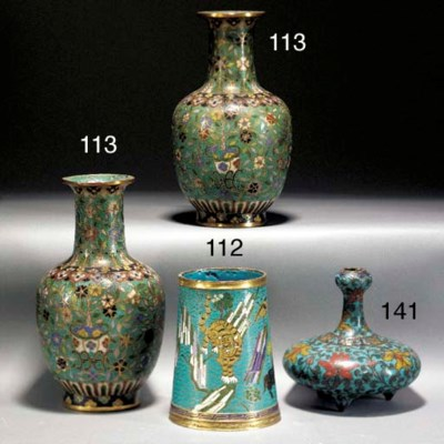 A small Chinese cloisonne cyli