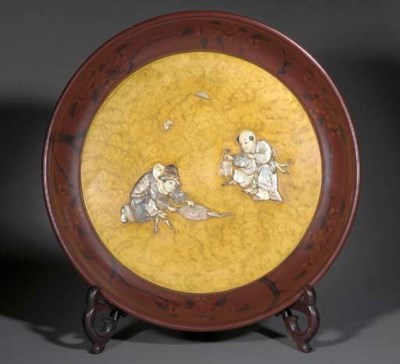 A JAPANESE CIRCULAR INLAID LAC