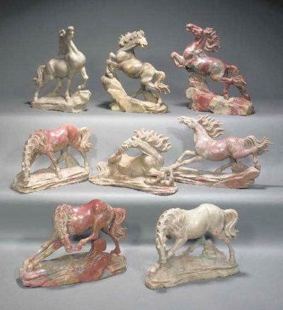 EIGHT CHINESE SOAPSTONE MODELS