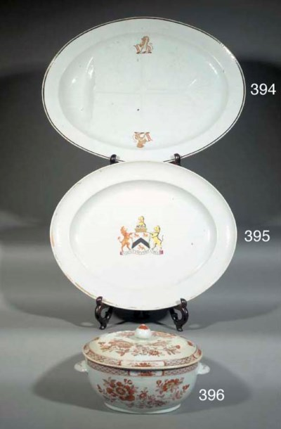 A CHINESE ARMORIAL OVAL SERVIN