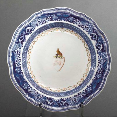 A MONOGRAMED EXPORT SOUP PLATE