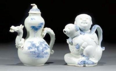 A HIRADO BLUE AND WHITE EWER 1