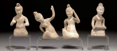 FOUR CHINESE POTTERY MODELS OF