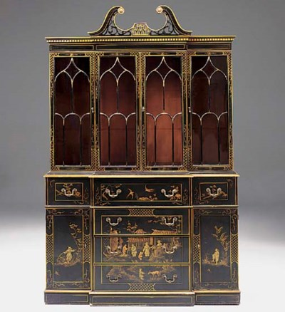 A BLACK LACQUER AND GILT CHINO