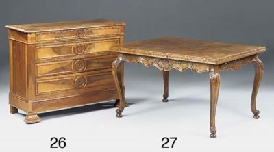 A FRENCH OAK DRAW LEAF TABLE,