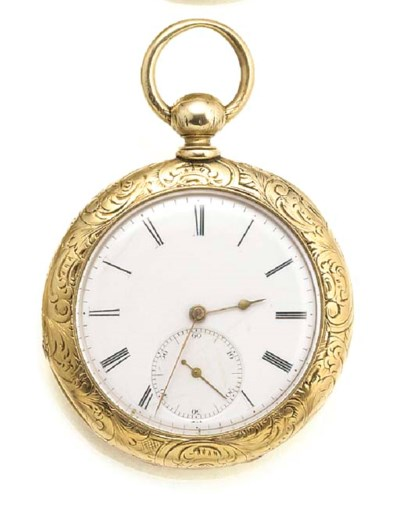 A GOLD CABRIOLET POCKET WATCH.