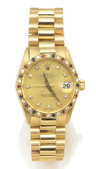 ROLEX, AN 18ct. GOLD MID-SIZE