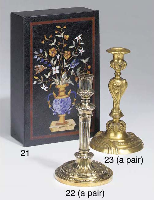 A pair of Louis XVI silvered b
