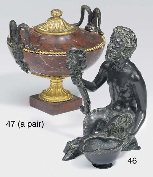 A French Bronze group of a can