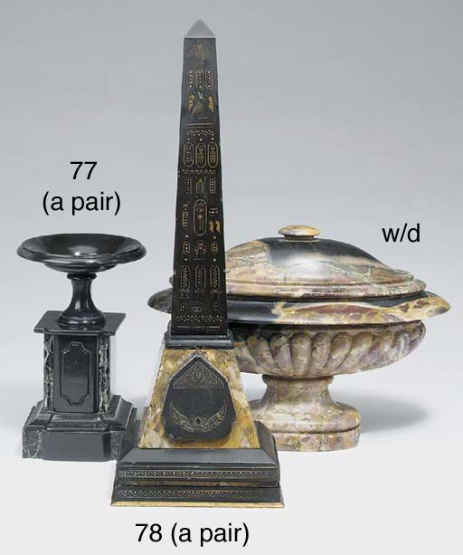 A pair of French black marble