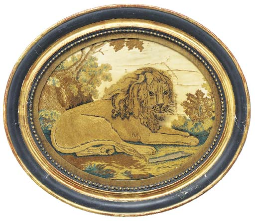 A silkwork picture of a Lion,