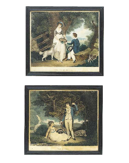 Two Regency tinted prints, ear