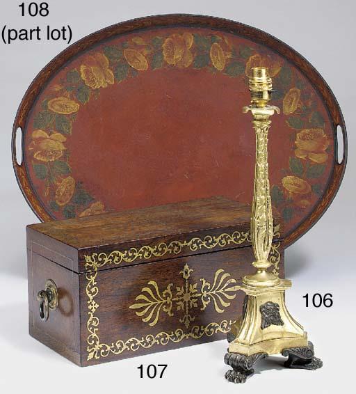 A Regency brass inlaid rosewoo