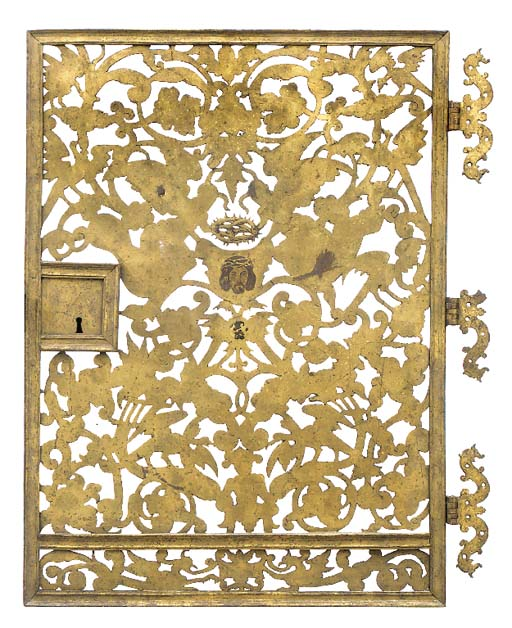 A GILT SHEET IRON DOOR, POSSIB