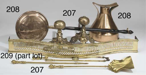 A COPPER AND BRASS WARMING PAN