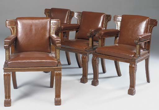 A SET OF FOUR WALNUT AND PARCE