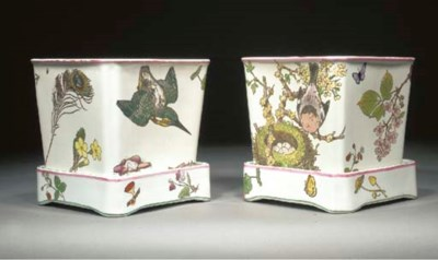 A PAIR OF EARTHENWARE PLANTERS