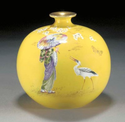 A POTTERY VASE by F Ridgway, m