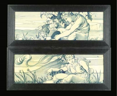 A PAIR OF TILES attributed to