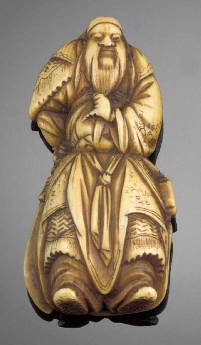 An ivory netsuke of Kwanyu 19t