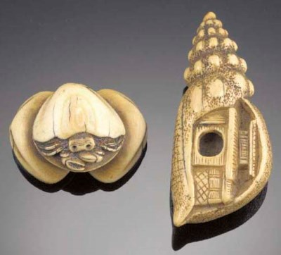 An ivory netsuke of a large sh