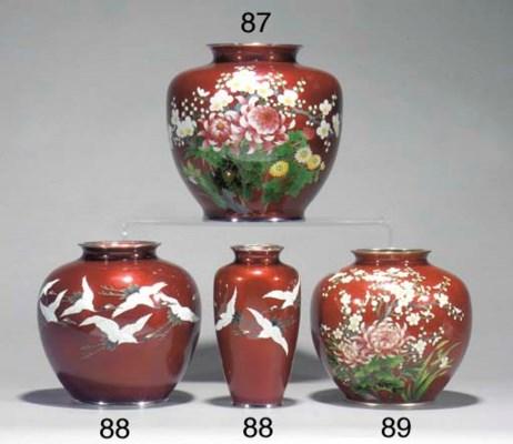 Three Japanese cloisonne piece