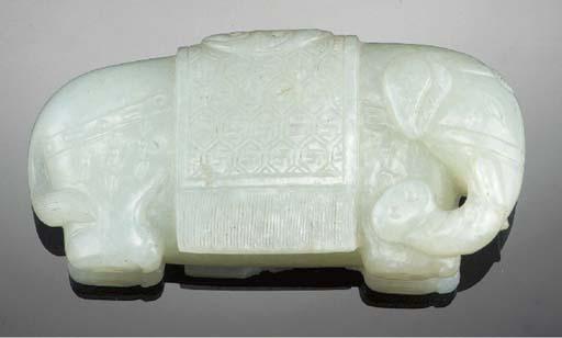 A celadon jade model of a capa