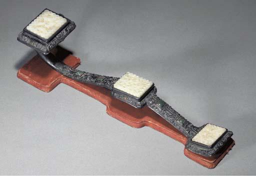 A Chinese wood ruyi sceptre wi