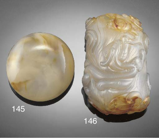 A Chinese carved agate brushpo